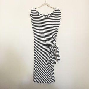 Spense Dresses - Striped knit dress side ruching L